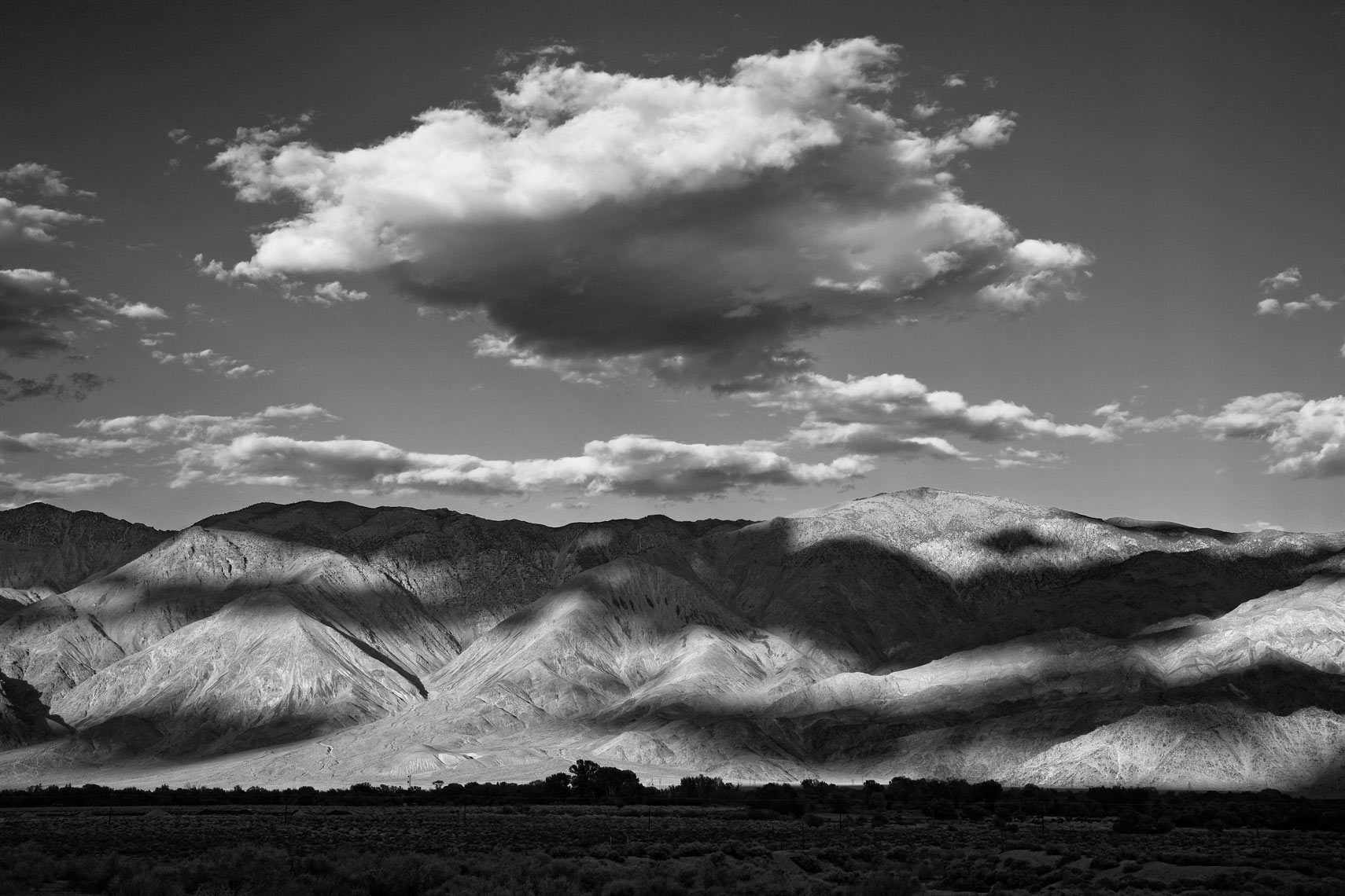Clouds Over Lone Pine Mountains - Black & White