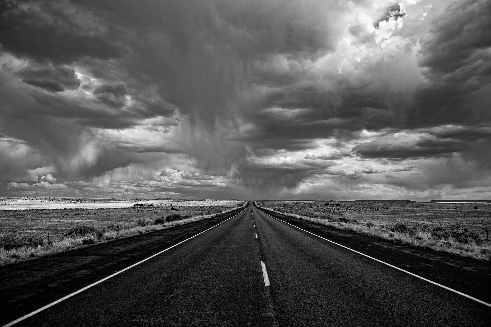 Storm Along New Mexico Highway - Black & White